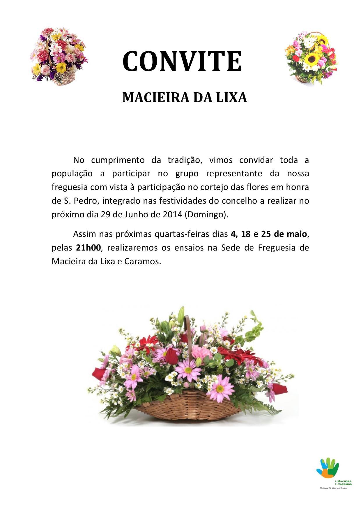 CONVITE - Ensaios para o cortejo das flores - Macieira da Lixa