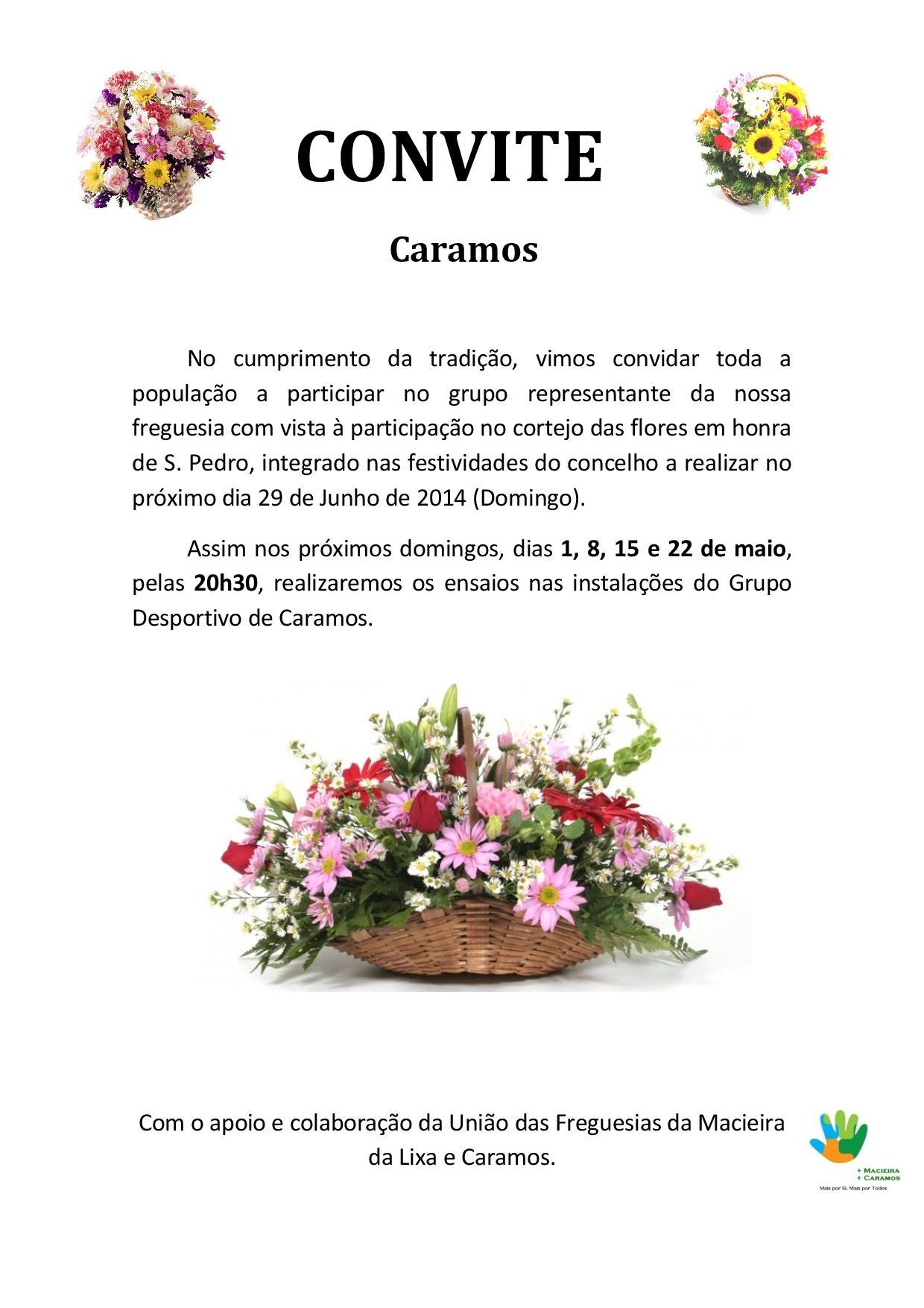CONVITE - Ensaios para o cortejo das flores - caramos