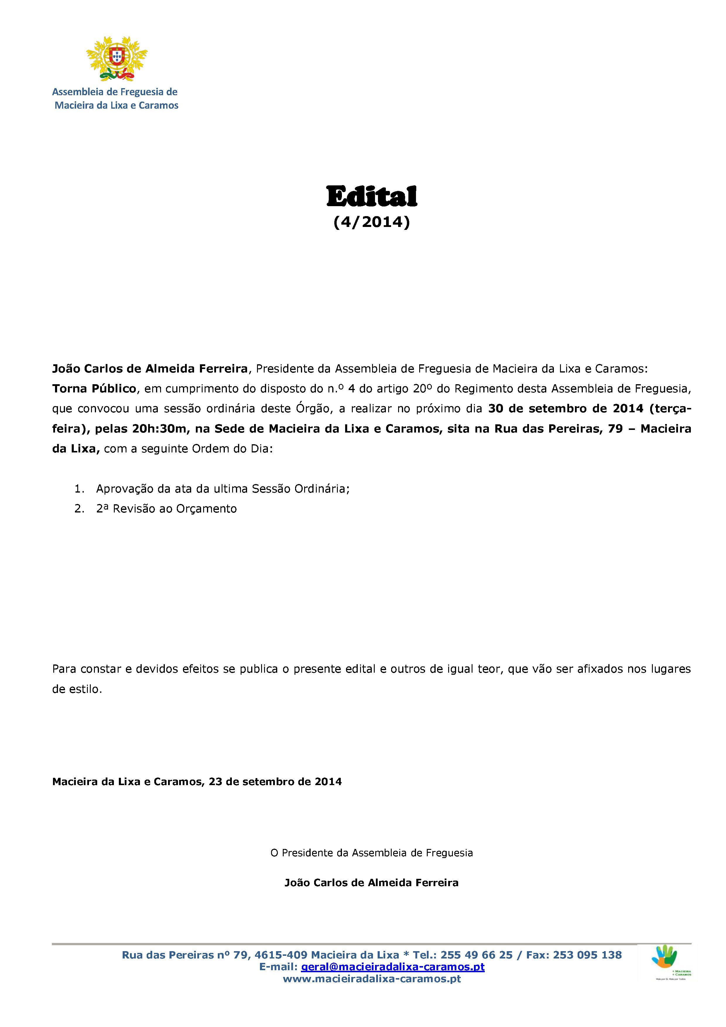 Edital_4_Sessão Ordinária da Assembleia de Freguesia 2014-page1