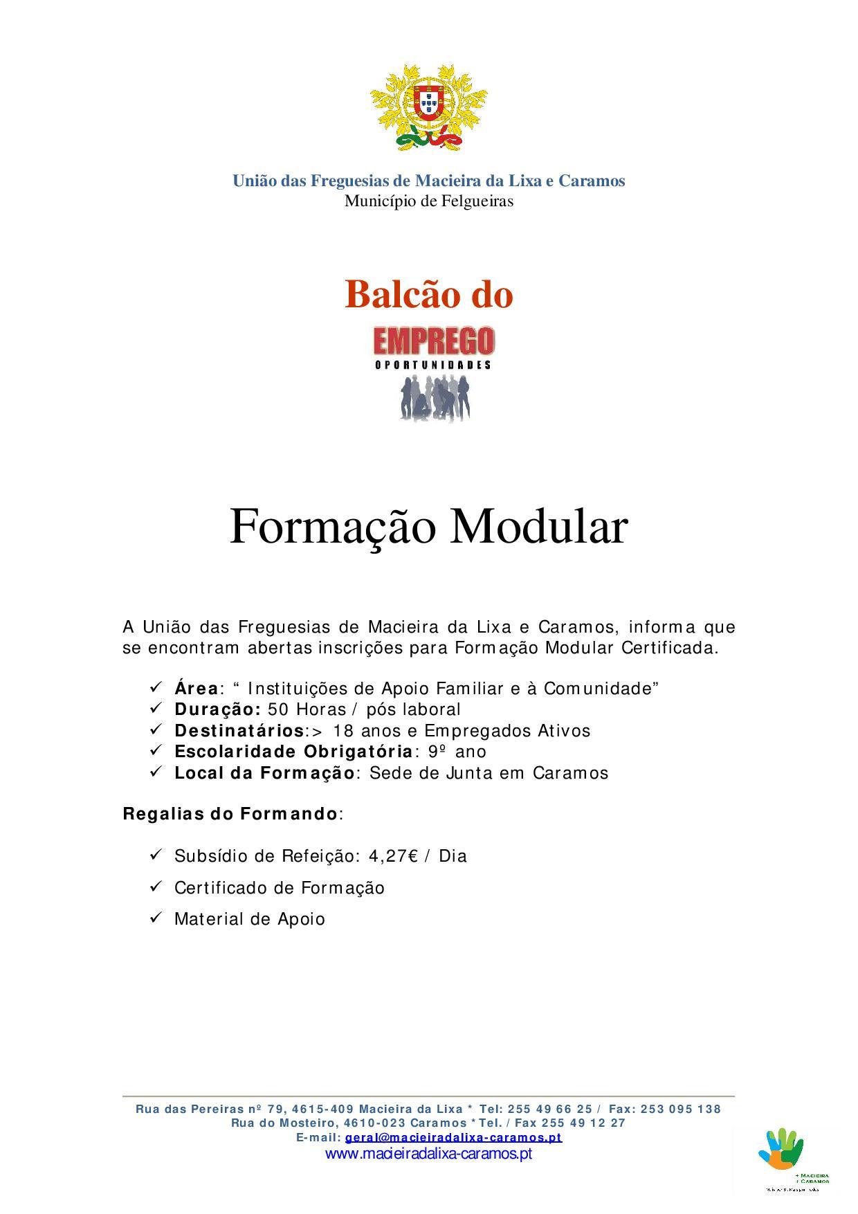 Formação Modular-Instituições de Apoio Familiar e à Comunidade