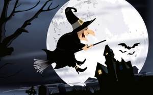 8284bc8abcae95c559ab61c5b12ec9f6-halloween-witch-flying-graveyard-night-wallpaper