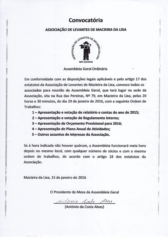 Convocatória _Associação de Levantes