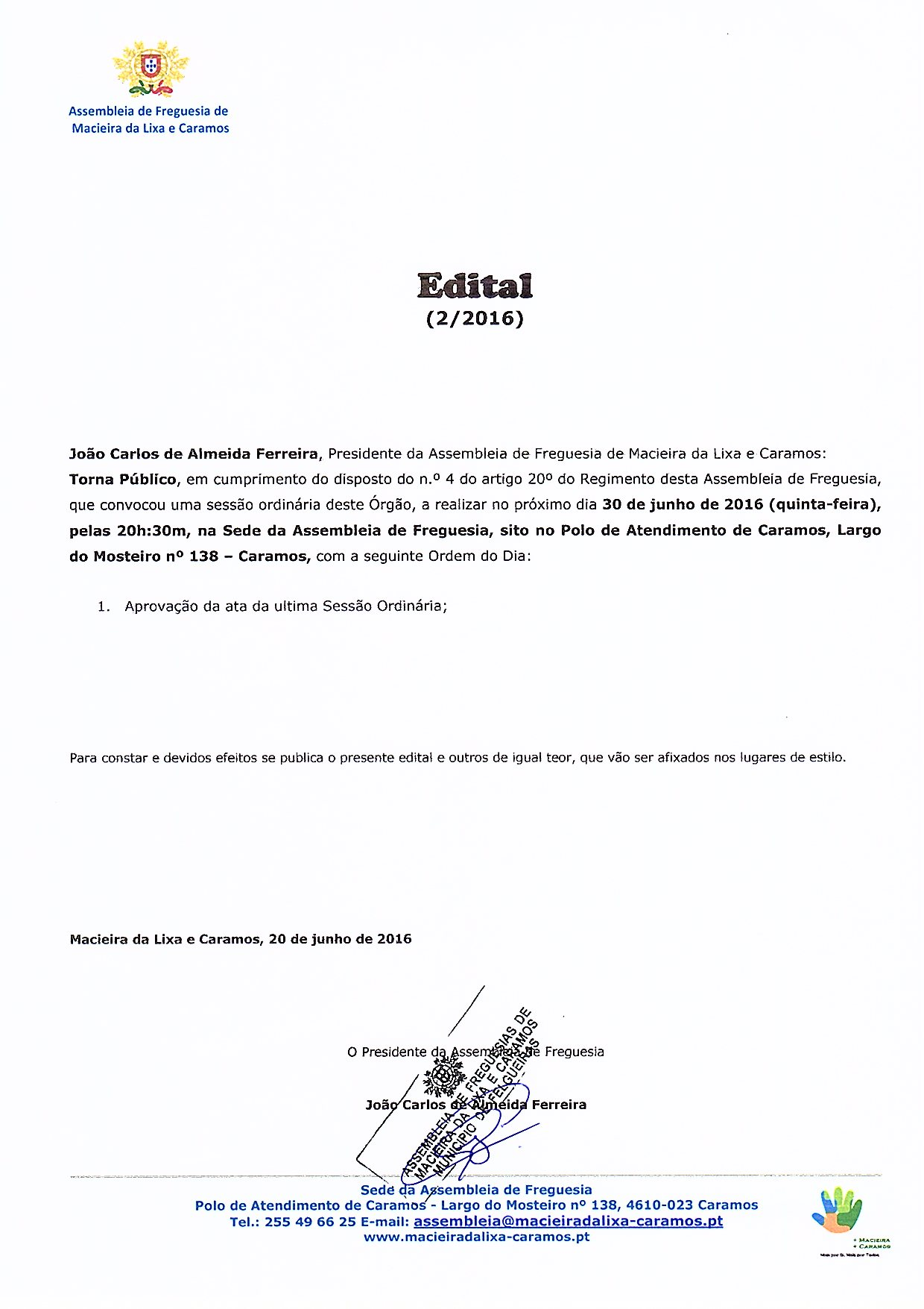 Edital nº 02_2016 - Sessão Ordinária da Assembleia de Freguesia de Macieira da Lixa e Caramos