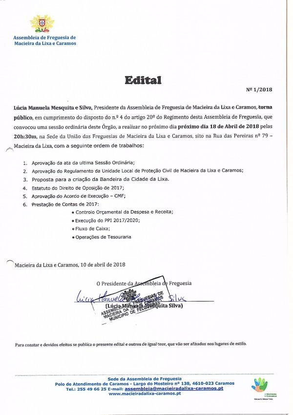 Edital nº 01_2018_Sessão Ordinária da Assembleia de Freguesia de Macieira da Lixa e Caramos
